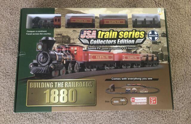 Locomotive Santa FE Steam 1880 American Batt Operated Train 23pcs Set Easy Setup for sale online