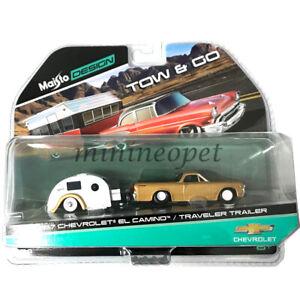 Maisto Tow /& Go Car Blister 1:64 Assorted Chevrolet Willys Traveler Trailer New