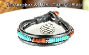 8B-557 Genuine Turquoise Tiger/'s Eye Wood /& Leather Armband Men Bracelet
