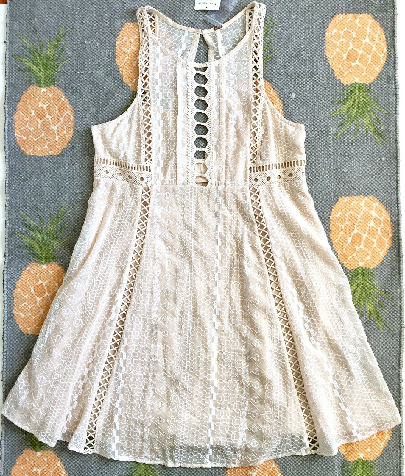 Free People Wherever You Go A-Line Mini Dress A15 Embroidered Ivory Beige Sz 12