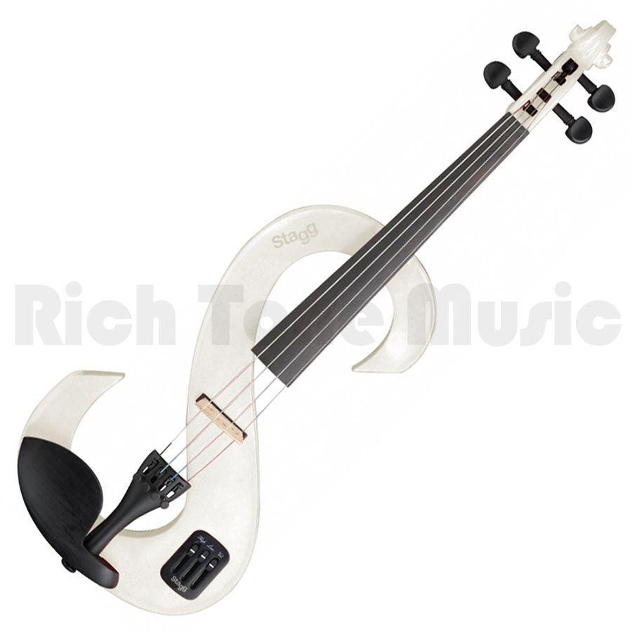 Stagg 4 4 4 4 conjunto de violín eléctrico-blancoo fa357c