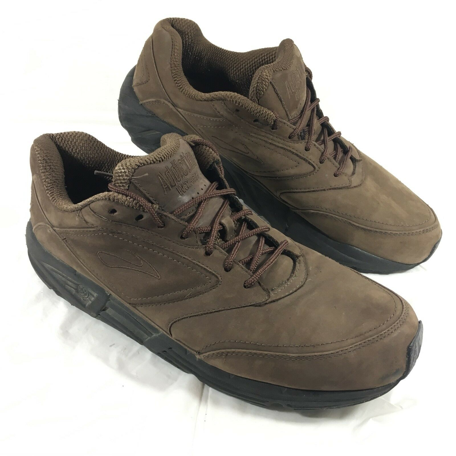 Men's used Brooks Addiction Walker Comfort shoes Brown leather Sz 14 M