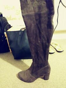 Grey-Faux-Suede-Over-The-Knee-Boots-Size-6-39-Knee-High-Great-condition
