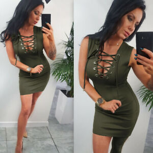 Women-Sexy-Lace-Up-V-neck-Sleeveless-Bodycon-Mini-Dress-Evening-Clubwear-Party