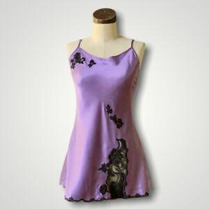 Rare VICTORIAS SECRET Vtg SECOND SKIN SATIN Purple Lace Nightie Babydoll SMALL
