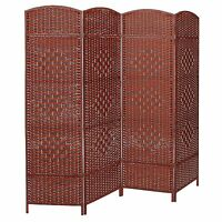 Decorative Freestanding 4 Hinged Panel Woven Brown Wood Privacy Room Divider