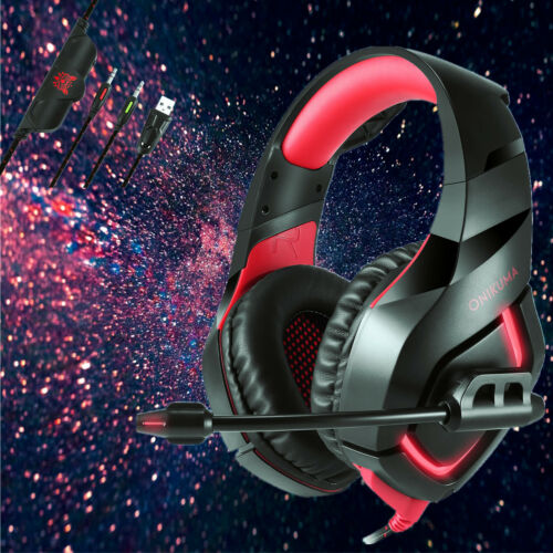 ONIKUMA K1 Gaming Headsets Headphone for PS4 New Xbox One PC Laptop with Mic Red
