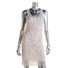 INC 0635 Womens Beige Crochet Sleeveless Fringe Casual Dress 12 BHFO