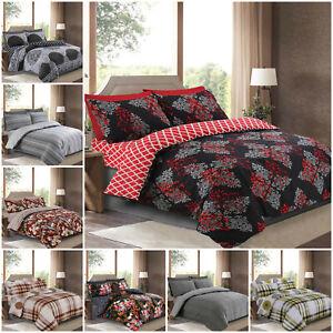Riche-coton-luxe-duvet-Quilt-COVER-4-PCS-Set-avec-Drap-Housse-amp-taie-d-039-oreiller