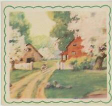 VINTAGE WHITE SPRING TREES PATH HOUSE SHABBBY FARM CHIC LANDSCAPE OLD CARD PRINT