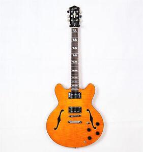 2019 big sale grote jazz electric guitar in yellow semi hollow binding ebay. Black Bedroom Furniture Sets. Home Design Ideas