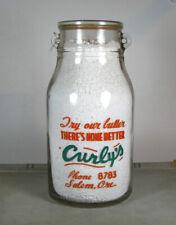 HUGE GALLON! PYRO old CURLY'S Dairy / SALEM OREGON OR 2-color milk bottle