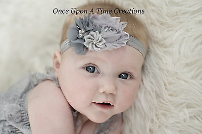 Gray & Silver Satin Flower Newborn Baby Girl Holiday Headband Christmas Hair Bow