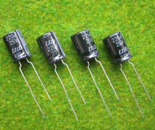 Elko 220 µF 25V Kondensator Stützkondensator Flackerschutz DR04 NEU 50 Stk
