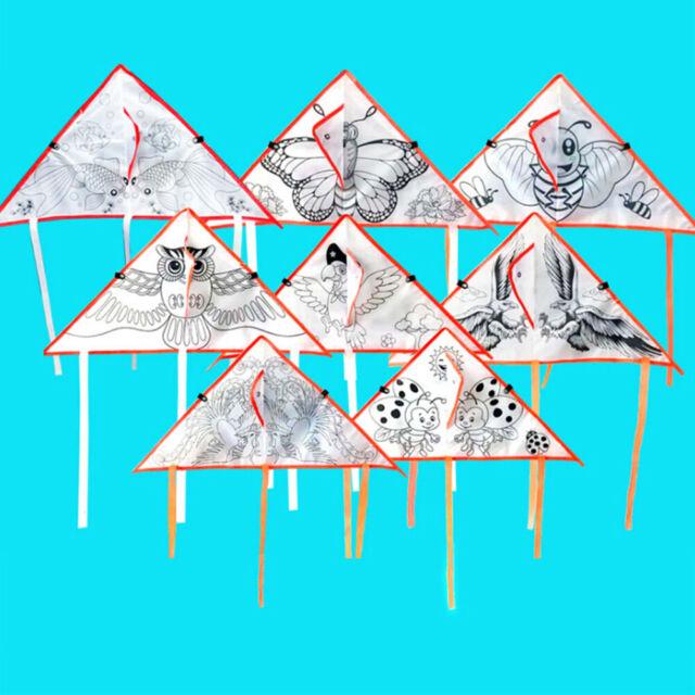 1Pc Diy Cartoon Painting Kite Foldable Outdoor Kite Children Kids Sport Toys WA
