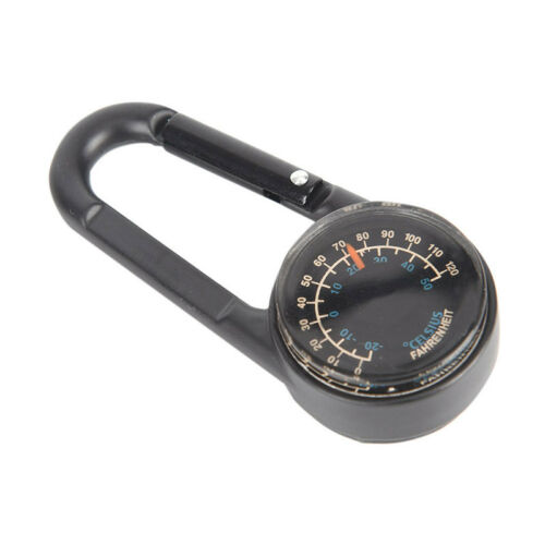Double-sided Keychain Multifunctional Metal Carabiner Compass Thermometer new