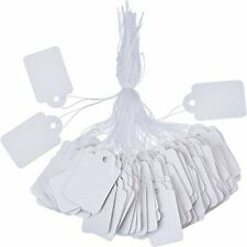 White Marking Tags Price Labels Display With Hanging String 500 Pack 35 X 22