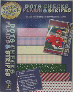 Hot-Off-The-Press-Dots-Checks-Plaids-amp-Stripes-32-Sheets-for-Scrapbooking-amp-More