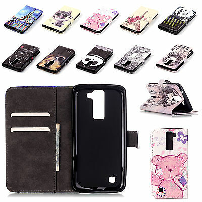 Stand Flip Synthetic Leather Wallet Phone Holder Skin Cover Case LG K8 K-8 K350N
