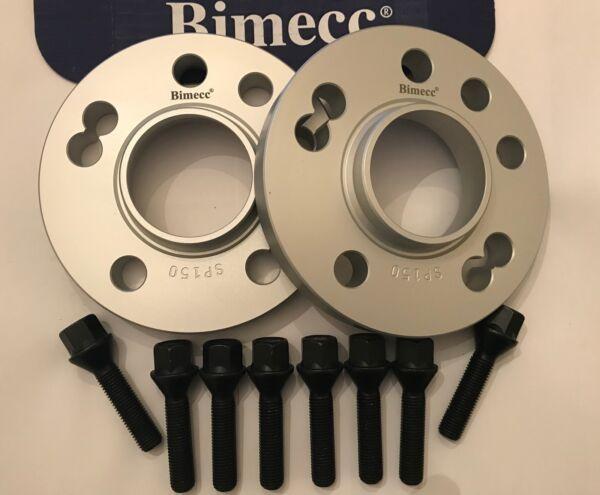 15mm Bimecc Alloy Wheel Spacers + 8 X M12x1.5 Black Bolts Vauxhall 2 4x100 56.