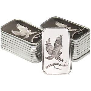 Silvertowne Trademark Eagle 1oz 999 Fine Silver Bars Lot