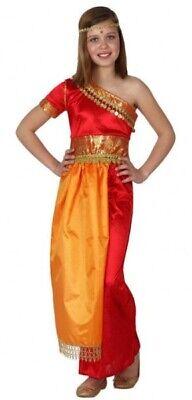 Onesto Le Ragazze Sari Bollywood Indiano Arancione In Tutto Il Mondo Costume Vestito-mostra Il Titolo Originale