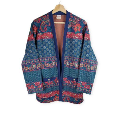 Vintage 1980s Graff Womens Large Tribal Pattern Sweater Cardigan