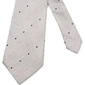 "SULKA Silver Herringbone w/ Navy & Yellow Dots Woven Silk 3-3/4""x 59-1/2"" France"