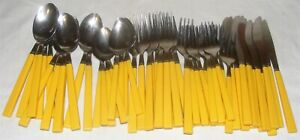 Vintage Stainless Steel Yellow Melamine Plastic Handle 57 Piece Flatware Set