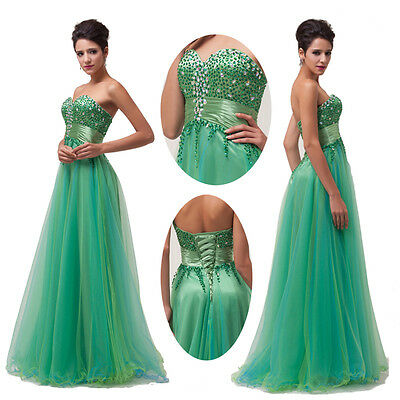 Green Tulle Homecoming Prom dresses Party Long Bridesmaid Dress WEDDING Gowns