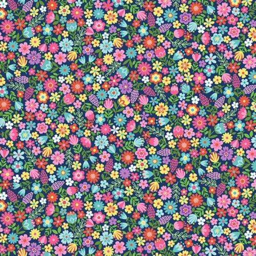 Per 1//4 Metre Makower Daydream Floral Blue Fabric