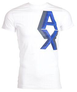 Armani-Exchange-AN-09-Homme-Designer-T-Shirt-Premium-Blanc-Coupe-Slim-45-NOUVEAU