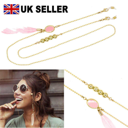 Women Reading Glasses Chain Natural Pink Feather Pendant Bead Chain For Glasses