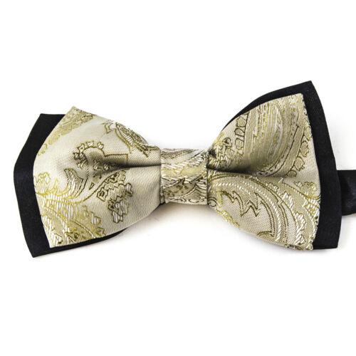 Mens Ivory Black Paisley Silk Bow Tie Pre Tied Neckwear CR051