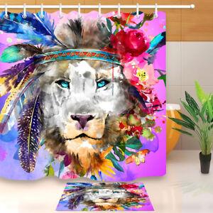 BOHO-Watercolor-Lion-Feathers-Waterproof-Fabric-Bathroom-Shower-Curtain-72x72-034