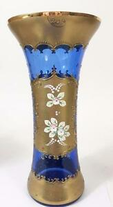 "Egermann Czech Bohemian Glass Vase Cobalt Blue LARGE 14"" 24K Gold High Enamel"