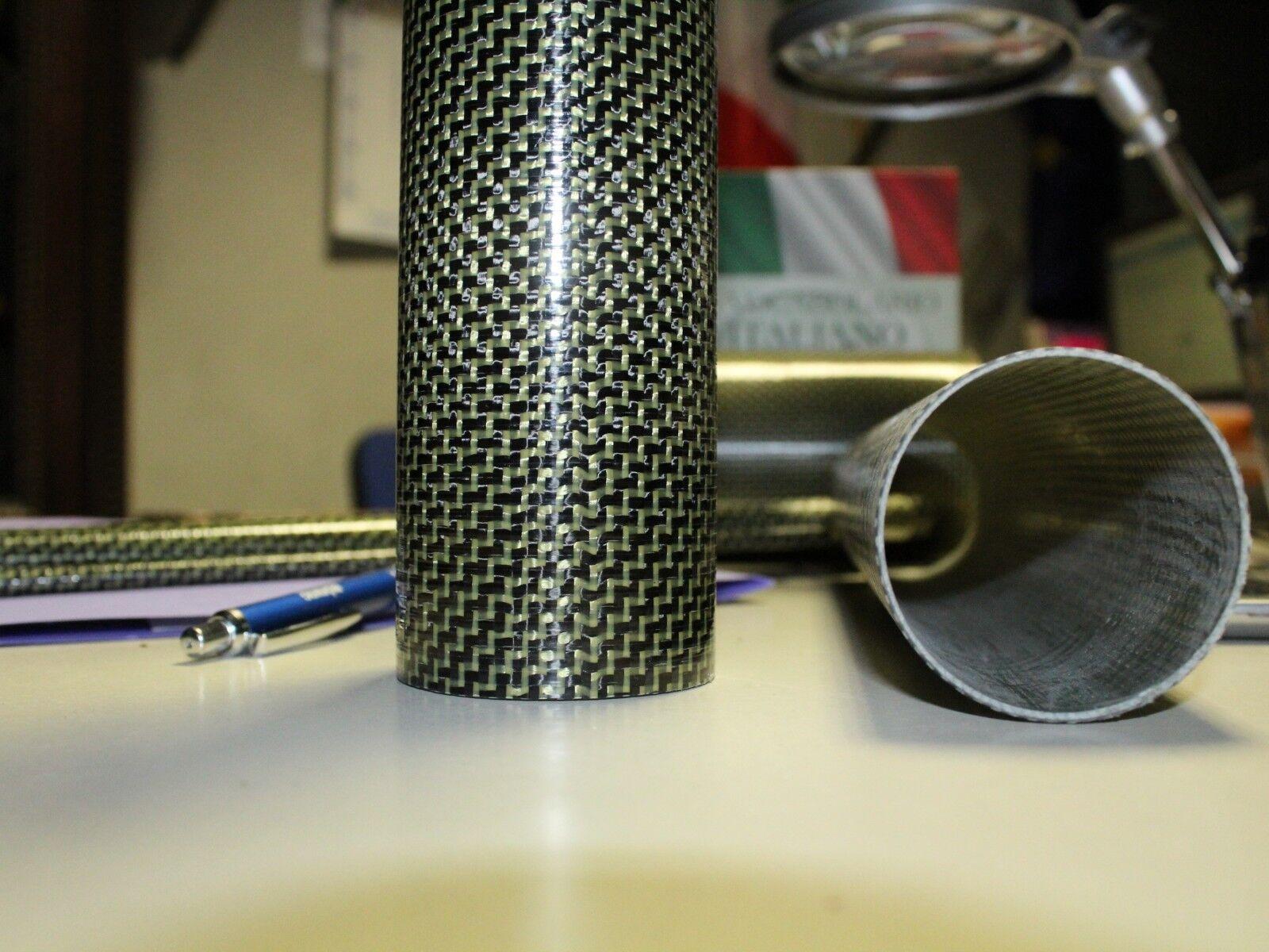 Tubo in fibra di carbonio kevlar 3k est48 int46 lung.mm1000
