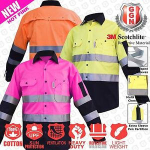 Hi-Vis-Work-Shirt-Light-Cotton-Drill-Safety-155GSM-Vents-Back-Cape-3M-Tape