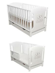 Babybett Kinderbett Juniorbett 2 in1 Umbaubar 120x60 Weiß mit Matratze Neu