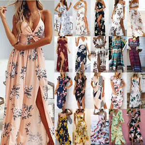 36ab6353f9b1 Women Ladies Boho Long Maxi Dress Evening Party Holiday Beach Floral ...
