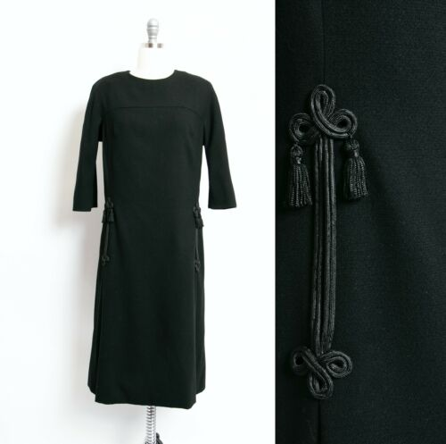 HARVEY BERIN 1960s Dress Black Wool Large - image 1