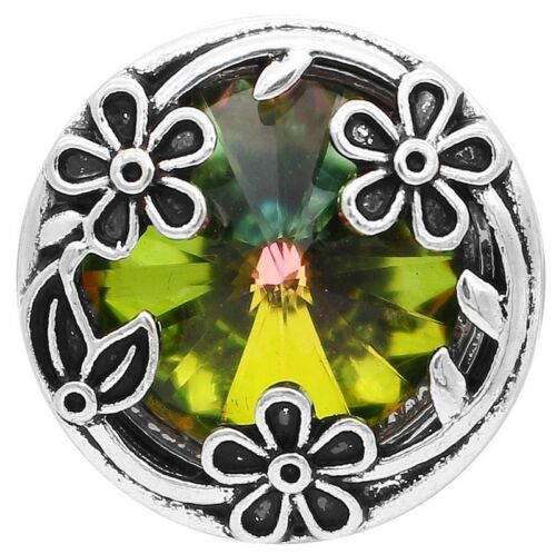 Silver Iridescent Green Flower Rainbow 20mm Snap Button Charm For Ginger Snaps