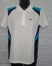 Boys Polo Shirt New Balance Pace Polo Shirt Top Size 12 Years Old White #3546