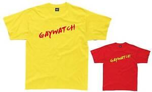 GAYWATCH-Mens-T-Shirt-S-3XL-Yellow-Red-Funny-Costume-Lifeguard-Fancy-Dress