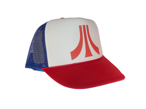 Atari video game hat Trucker hat mesh hat adjustable red white blue