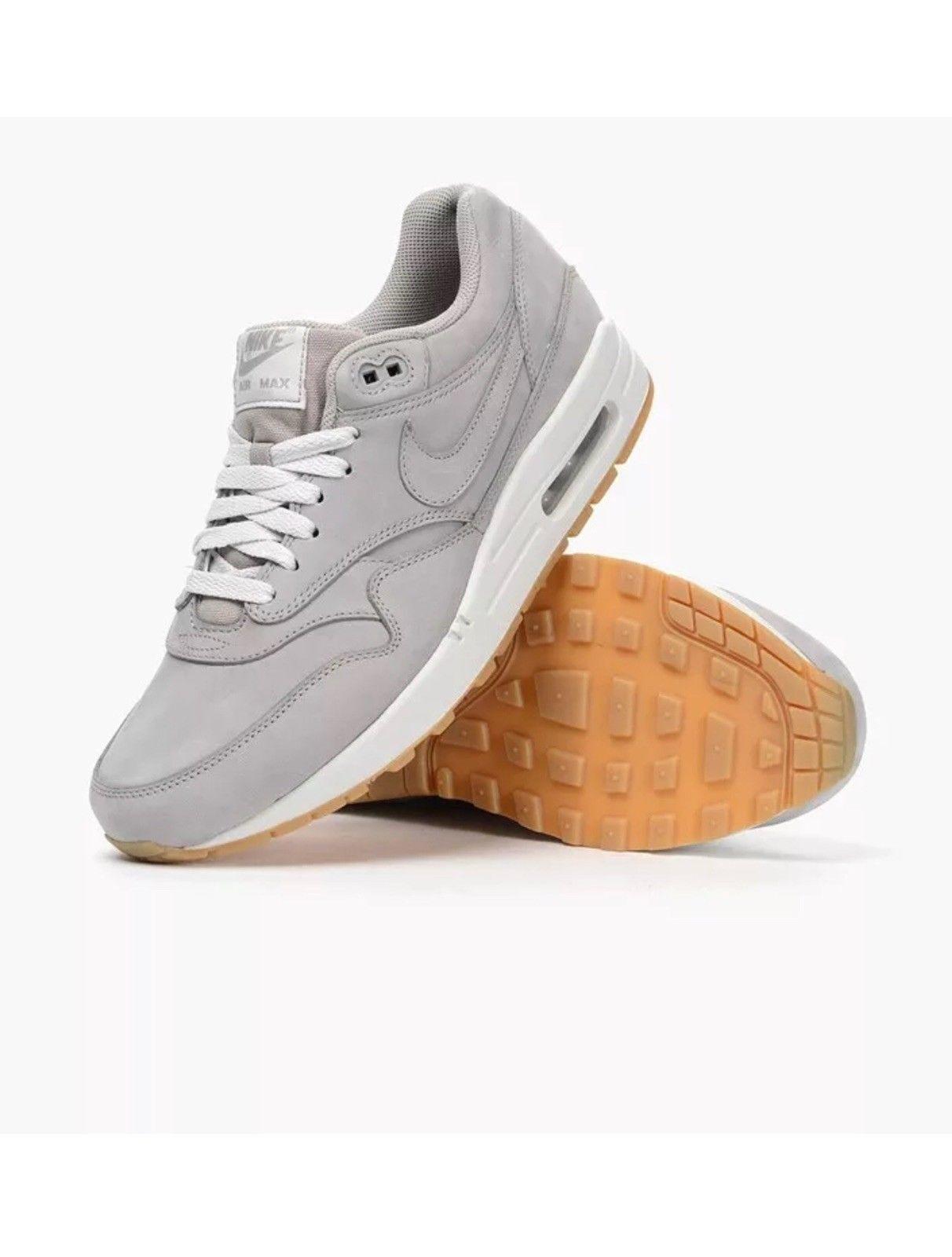 Nike Men's Air Max 1 LTR Premium Meduim Grey sz 10.5 [705282 005] nubuck suede