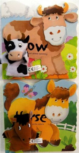 Two Book Set With Small Horse and Cow Finger Puppets New