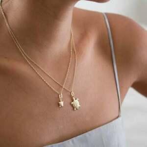 14K-Yellow-Gold-Sea-Turtle-Pendant-Animal-Charm-Necklace