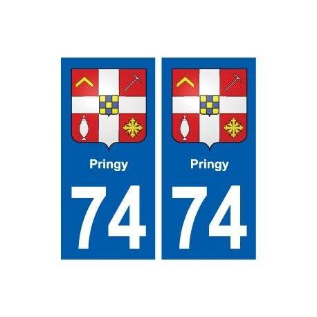 74 Pringy blason autocollant plaque stickers ville arrondis
