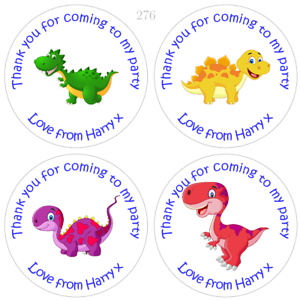 Personalised Dinosaur Birthday Stickers For Party Bags and Sweet Cones
